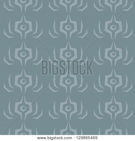 Seamless abstact shape vector pattern on gray background