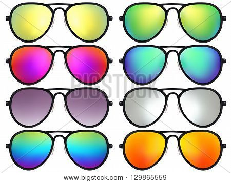 Sunglasses set. Trendy sunglasses colors. Summer eyeglasses. Fashion collection. Summer vacation item. Sunglasses for tropical trip. Boho style sunglasses. Vector illustration.