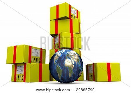 World postage. Concept. Many of yellow parcels and a globe on a white surface. Isolated. 3D Illustration
