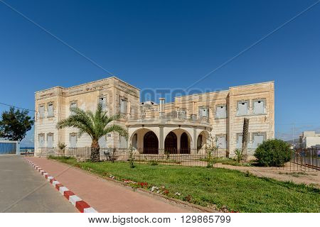 The abandoned Spanish Consulate building in Sidi Ifni on the Atlantic cost of Morocco.