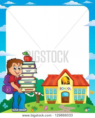 Frame with school boy 3 - eps10 vector illustration.
