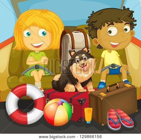 Children and dog riding in car illustration