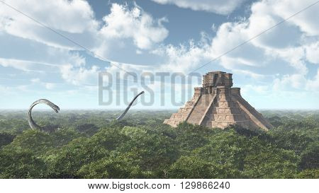 Computer generated 3D illustration with a Mayan temple and the dinosaur Omeisaurus