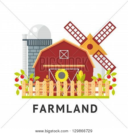 Farm  flat vector element. Isolated farm elements on white background.  agriculture farm house, farm food, farm object