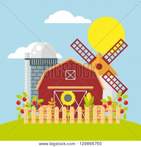 Farmland flat vector illustration. Color farm elements on color background.  agriculture farm house, farm food, farm object