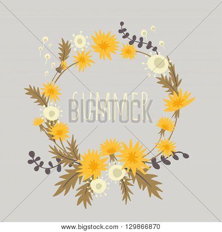 Dandelions. vector background with cute summer wreath of dandelions