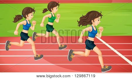 Three women running in the track illustration
