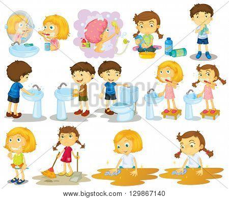 Girls and boys doing chores illustration