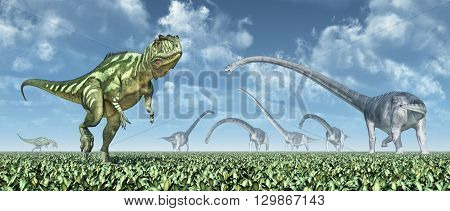 Computer generated 3D illustration with the dinosaurs Yangchuanosaurus and Omeisaurus