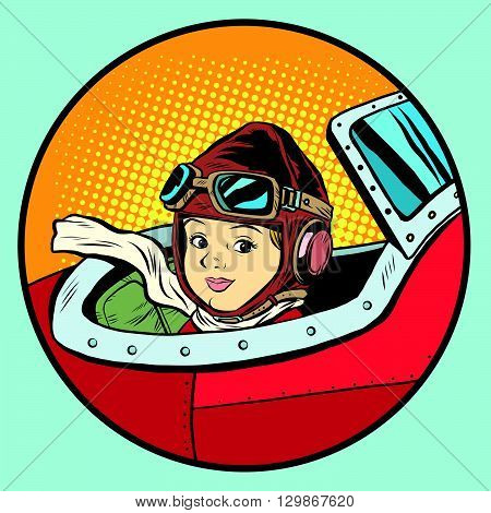 Child pilot plane game dream aviation pop art retro style. Little hero. Kids games