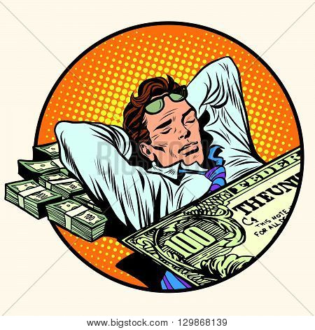 Dreams of riches business concept pop art retro style. Businessman sleeping on money. Dollars business and Finance