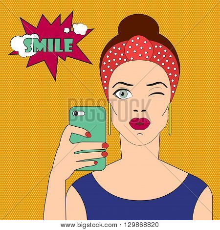 Pop art girl winks. Comic woman with badge smile. Pop art girl with scarf on her head. Pop art brunette girl takes a selfie on smartphone