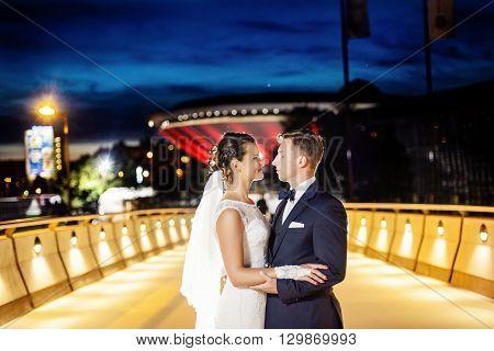 Gorgeous Newlyweds On The City Bridge At Night