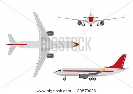 Drawing plane in a flat style on a white background. Top view front view side view. Vector illustration