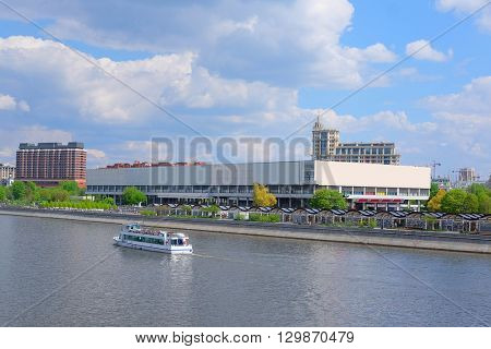 landscape with the image of Moscow river embankment in Moscow, Russia and the house of Tretyakovsky gallery on Krimsky Val