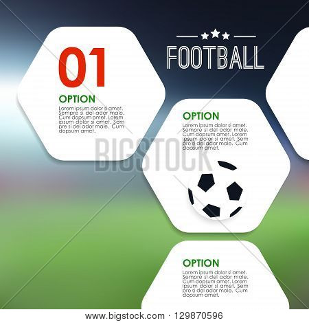Sport infographics template. Soccer football concept. Modern blurred background with stadium and graphic elements. Stock vector illustration