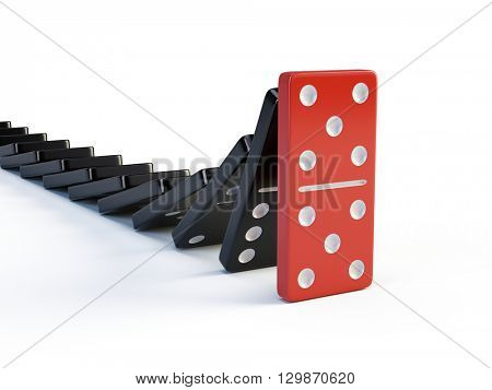 Business, leadership and teamwork concept - Red domino stops falling other dominoes. 3d render