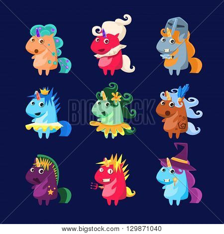 Unicorns In Disguise Set Of Flat Bright Color Childish Cartoon Design Vector Illustrations Isolated On Dark Background