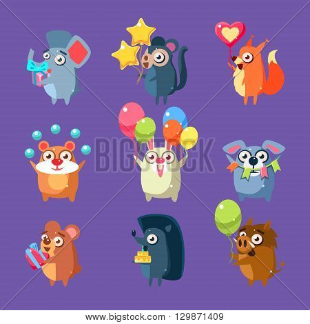 Animals With Party Elements Set Of Flat Bright Color Childish Cartoon Design Vector Illustrations Isolated On Violet Background