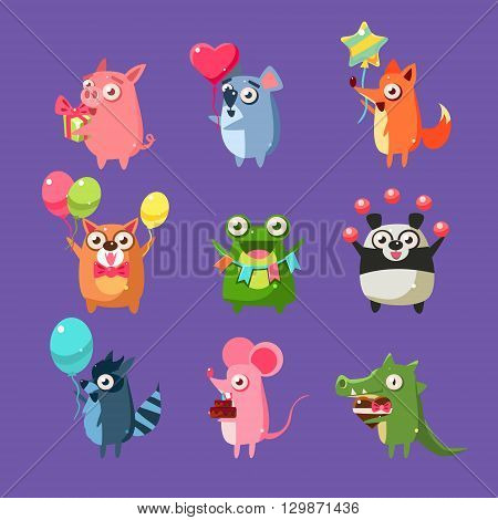 Animals At Birthday Party Set Of Flat Bright Color Childish Cartoon Design Vector Illustrations Isolated On Violet Background