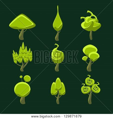 Trees With Weird Shape Crown Set Of Flat Bright Color Cool Fantastic Design Vector Icons Isolated On Dark Background