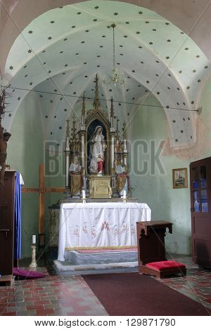 SVETI MARTIN POD OKICEM, CROATIA - MAY 18: Altar of the Virgin Mary in the church of Saint Martin in Sv. Martin pod Okicem, Croatia on May 18, 2005.