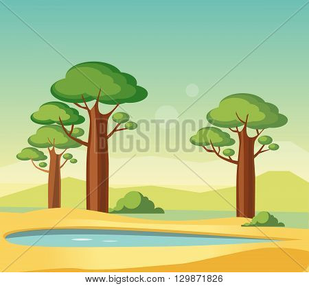Oasis With Baobabs Flat Bright Color Simplified Vector Illustration In Realistic Cartoon Style Design