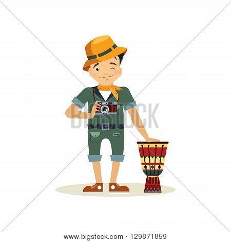 Safari Style Dressed Photographer Flat Bright Color Simplified Vector Illustration In Fun Cartoon Style Design