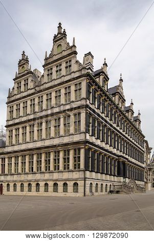 Ghent town hall is a building with many faces.Facade in Renaissance style. Belgium