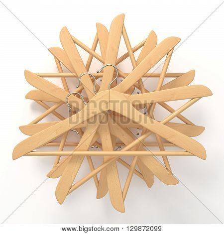 Wooden hangers star arranged. 3D render illustration isolated on white background