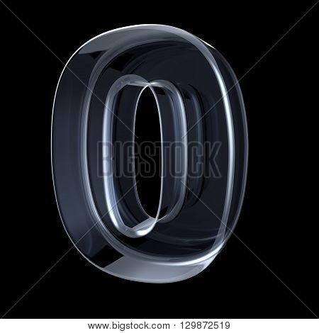 Transparent x-ray number 0 ZERO. 3D render illustration on black background