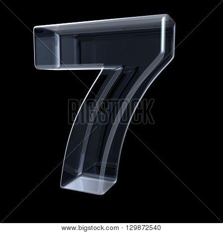 Transparent x-ray number 7 SEVEN. 3D render illustration on black background