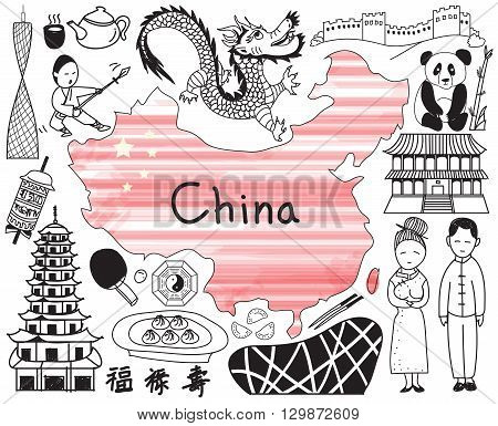 Travel to China doodle drawing icon with culture costume landmark and cuisine tourism concept in isolated background create by vector