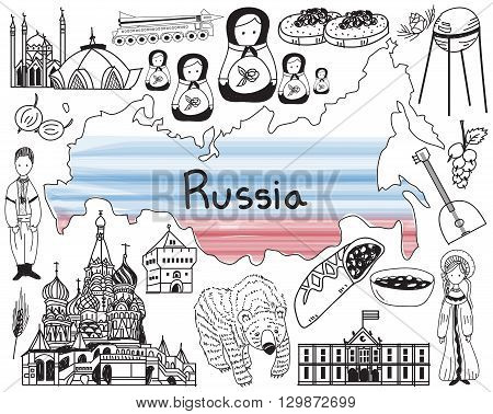 Travel to Russia doodle drawing icon with culture costume landmark and cuisine tourism concept in isolated background create by vector