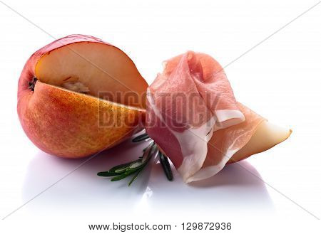 Jamon With Pear Isolated On White Background