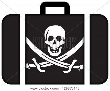 Calico Jack Pirate Flag. Suitcase Icon, Travel And Transportation Concept