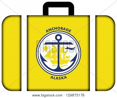 Flag Of Anchorage, Alaska. Suitcase Icon, Travel And Transportation Concept