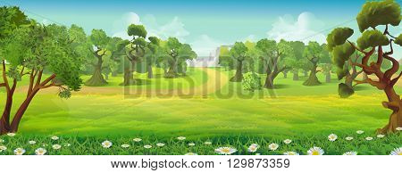 Meadow and forest nature landscape, vector background