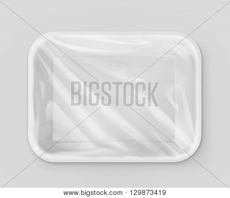 White polystyrene packaging, vector mockup