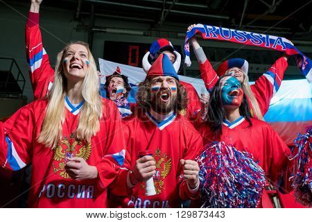 Happy sports fans in stadium