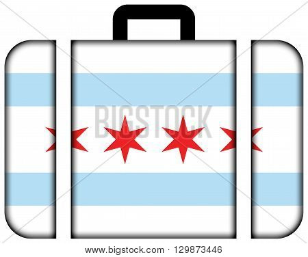 Flag Of Chicago, Illinois. Suitcase Icon, Travel And Transportation Concept
