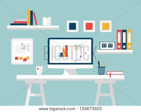 Home office. Furniture and Accessories. Flat design of modern home office interior with designer desktop. Creative office or home workspace, workplace of student with computer. Vector illustration.