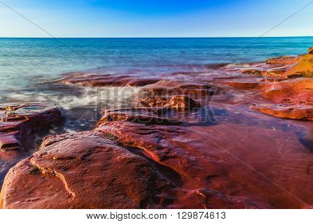 Rocky sandstone off the coast of prince edward island