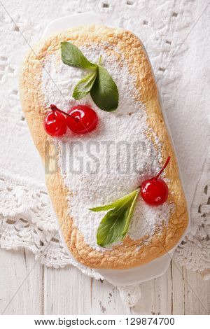 Austrian Dessert Salzburger Nockerln With Cherries Close Up. Vertical Top View