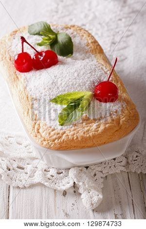 Austrian Dessert Salzburger Nockerln With Cherries Close Up. Vertical