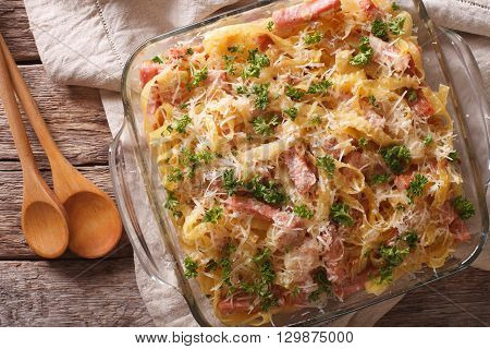 Austrian Cuisine: Schinkenfleckerln Macro In Baking Dish. Horizontal Top View