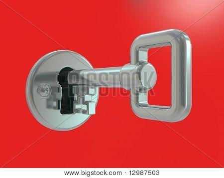 Silver Key In Keyhole