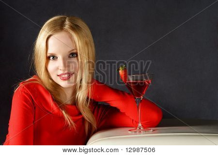 Smiling Woman With Juice Cocktail