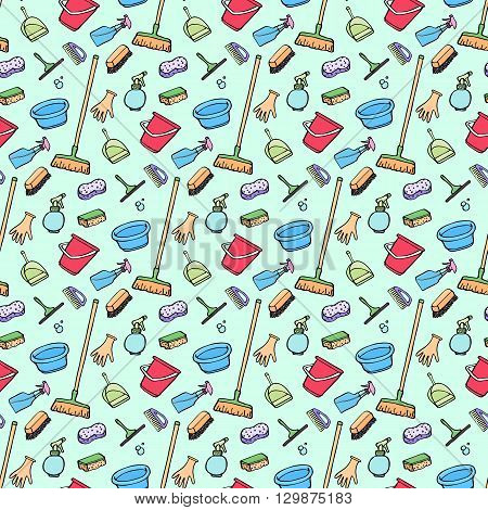 Cleaning tools sketch. Seamless pattern with hand-drawn cartoon icons - bucket, sponge, mop, gloves, spray, brush, shovel. Doodle drawing. Vector illustration - swatch inside