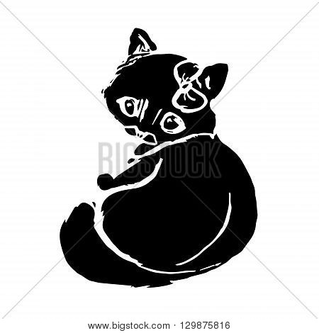 Black silhouette of a kitten with a bow on my head. An abstract pattern on a white background. Vector illustration